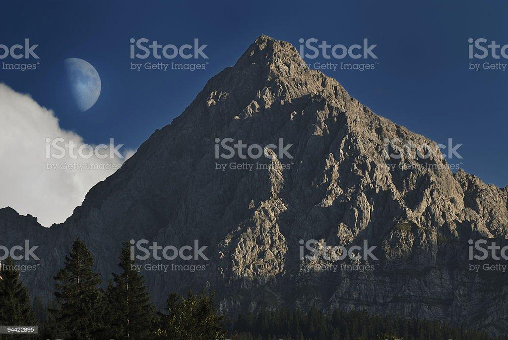 Half moon at a mountain royalty-free stock photo