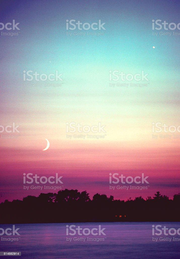 Half Moon Sunset stock photo