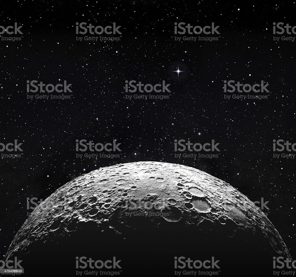 half moon surface and starry space stock photo