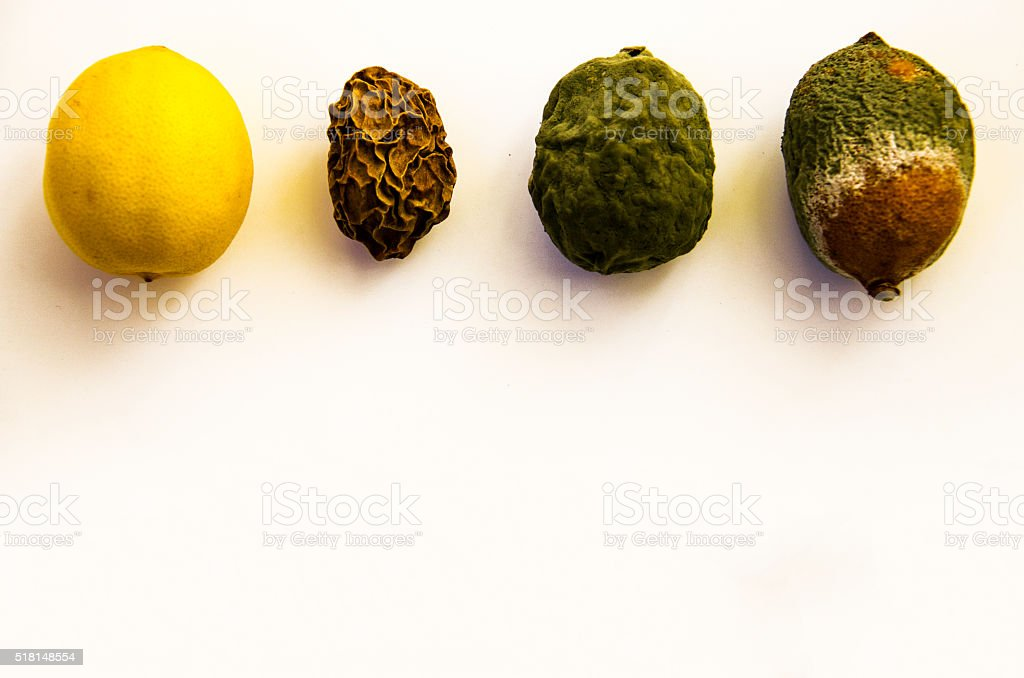Half Mouldy Lemon , mouldy lemon,  lemon and dry lemon stock photo