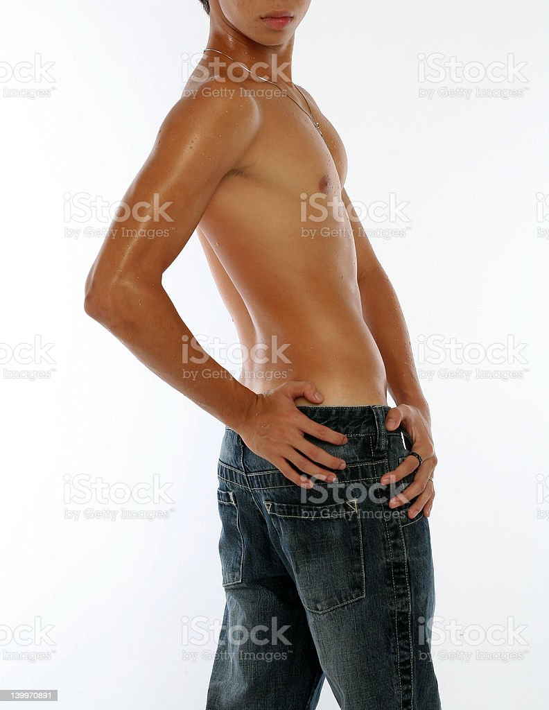 Half Naked Young Asian Male royalty-free stock photo