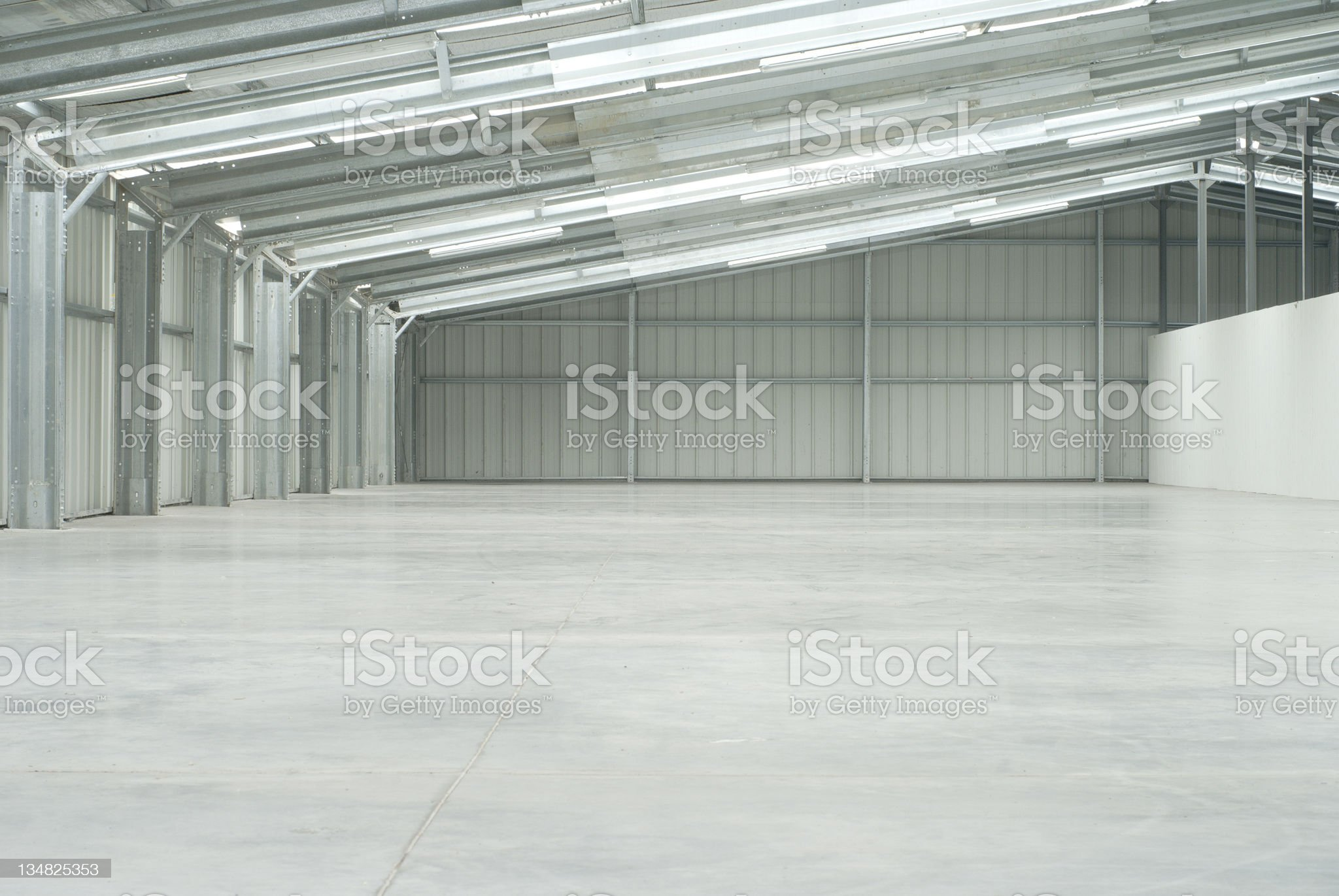 Half of an empty warehouse royalty-free stock photo