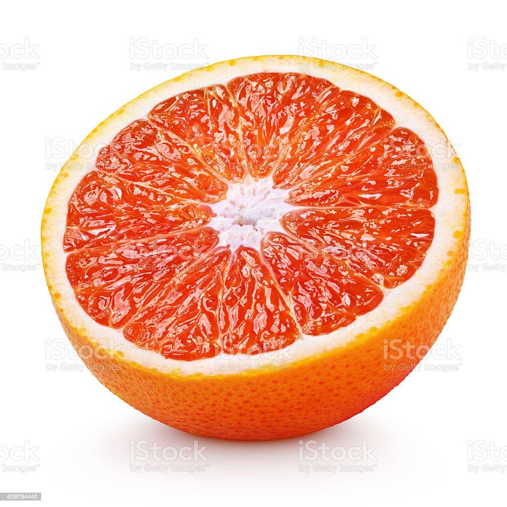 Half of blood red orange citrus fruit isolated on white stock photo
