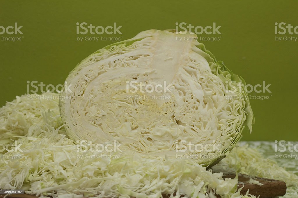 half of cabbage chopped stock photo