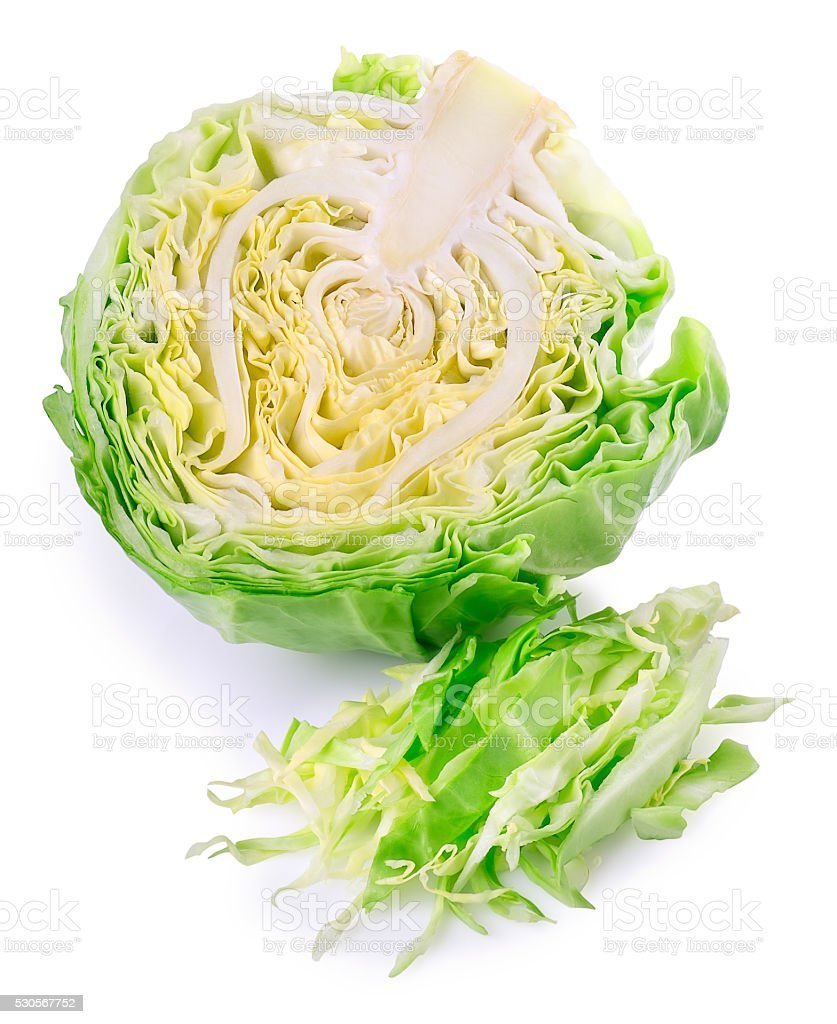 half of fresh green cabbage with cut isolated on white stock photo