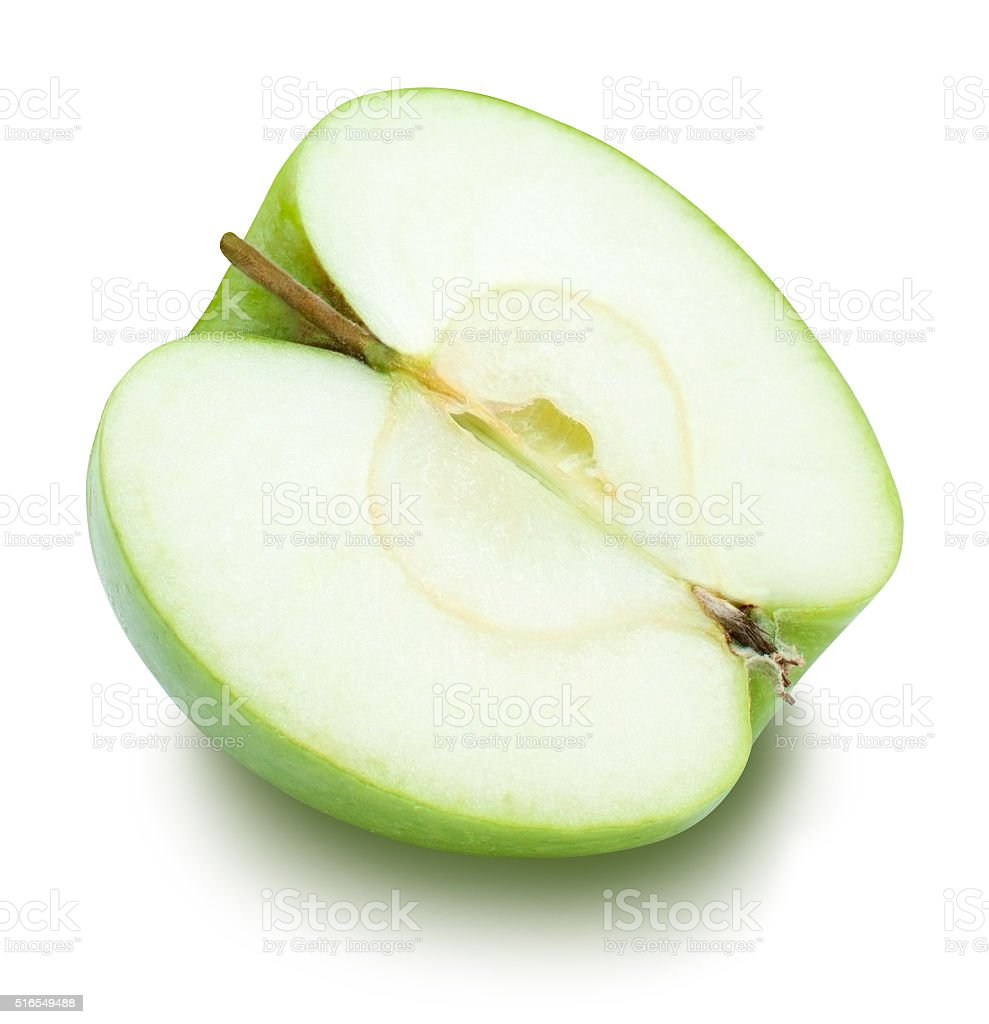 Half of green apple clipping path over white stock photo