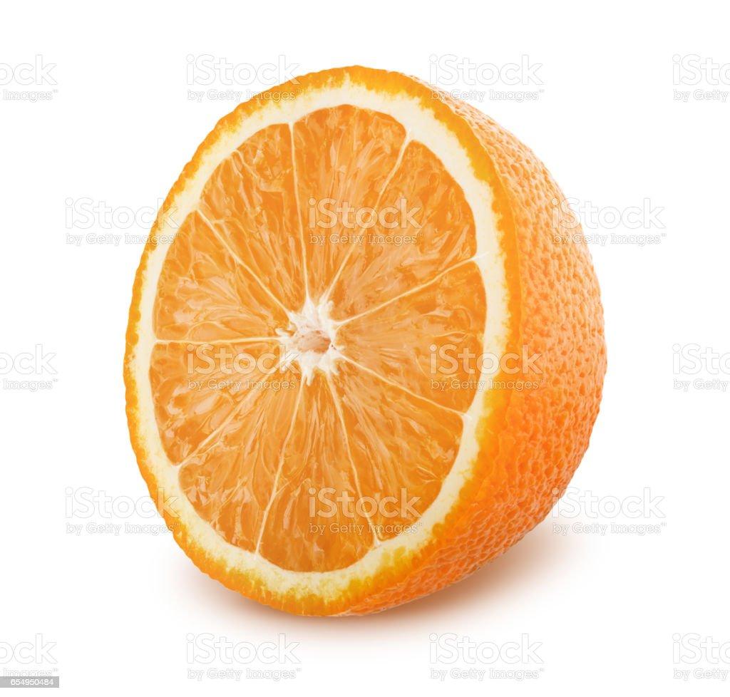 Half of orange isolated on white background stock photo