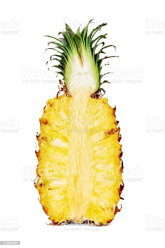 half of pineapple stock photo