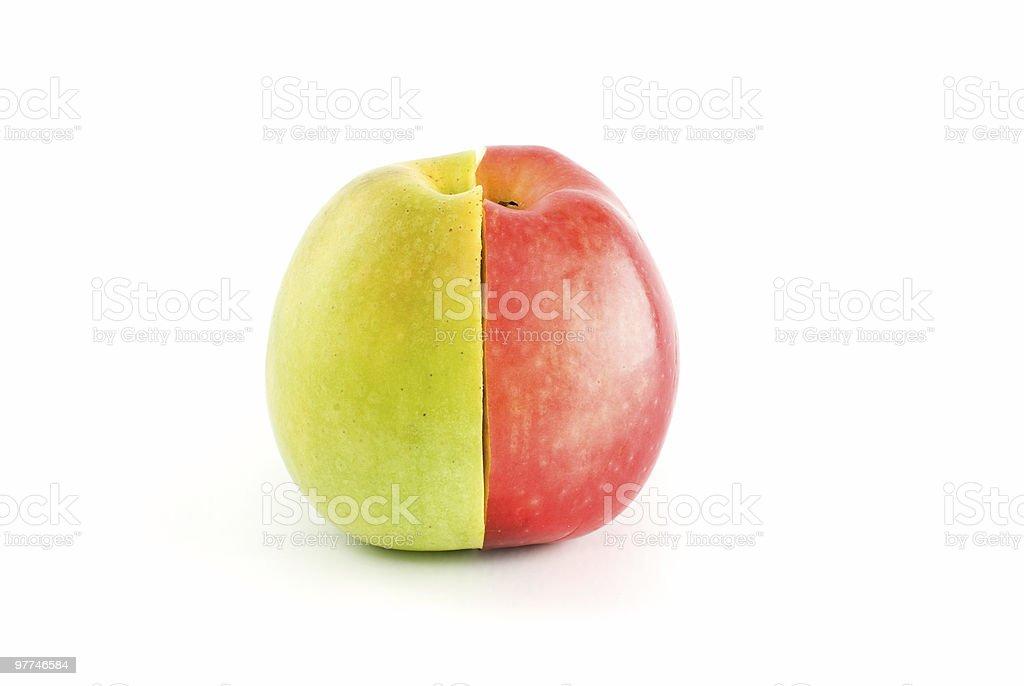 Meio de vermelho e verde com maçãs forma um conjunto de Frutas foto de stock royalty-free