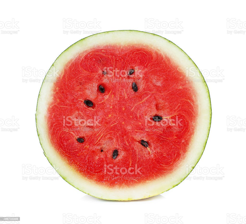 half of watermelon isolated on white background stock photo