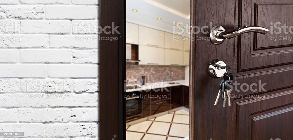 Half open door of a modern kitchen closeup. stock photo