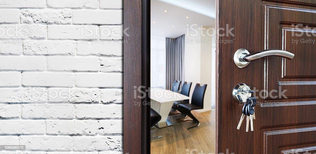 Half open door, welcome to the office. stock photo