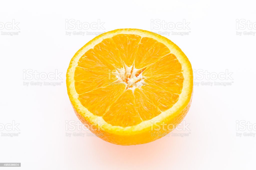 Half orange fruit. stock photo