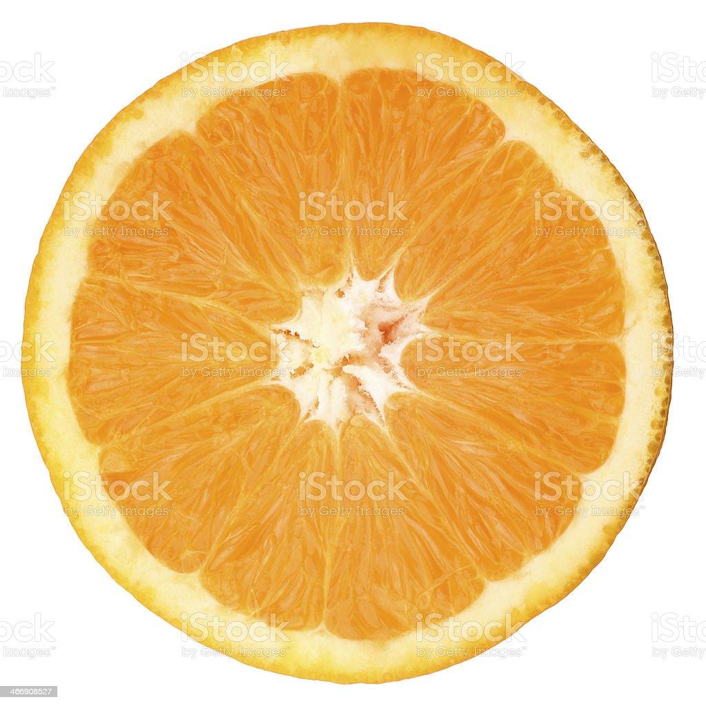 Half orange portion on white background stock photo