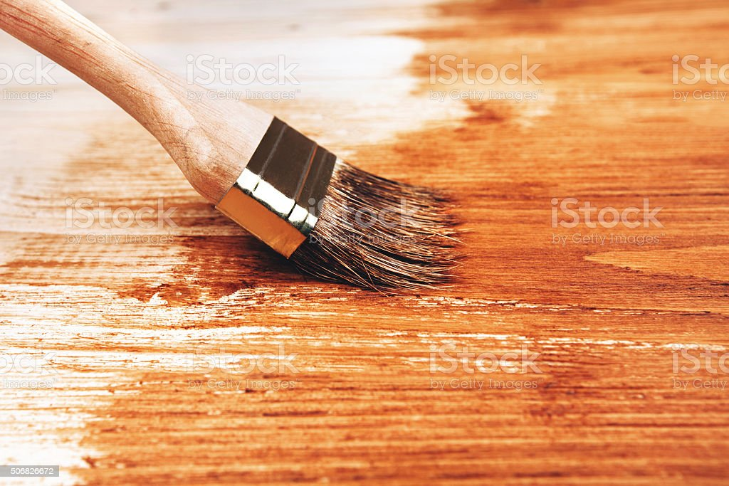 Half painted wooden boards stock photo