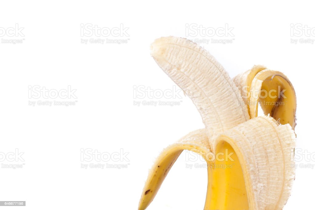 Half peeled banana isolated on white Clipping Path stock photo