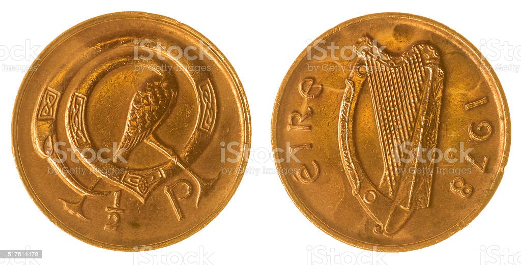 Half penny 1978 coin isolated on white background, Ireland stock photo