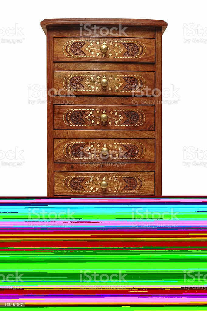 Half picture of a chest of drawers and screen issues stock photo