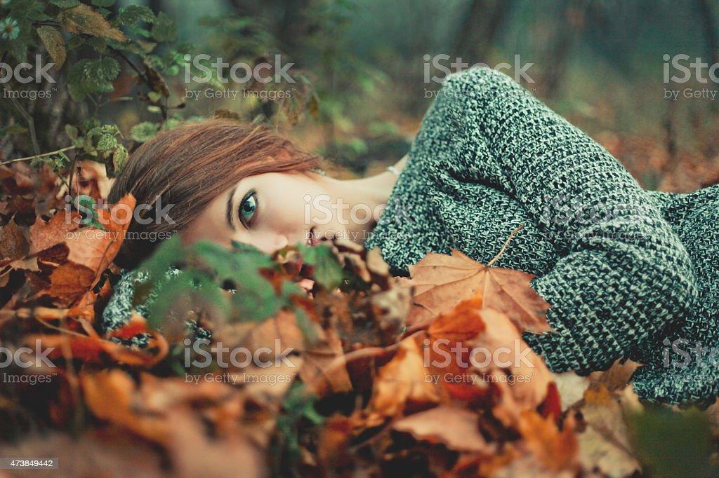Half portrait of charming girl stock photo