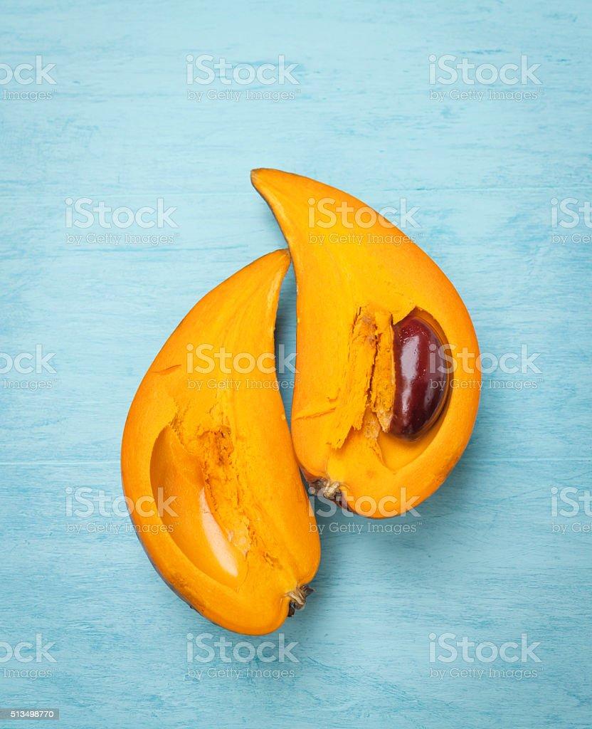 Half Pouteria campechiana Fruit stock photo