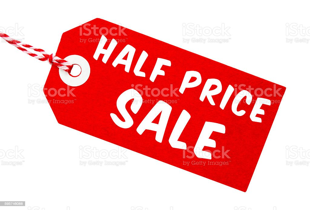 Half Price Sale Tag With String stock photo