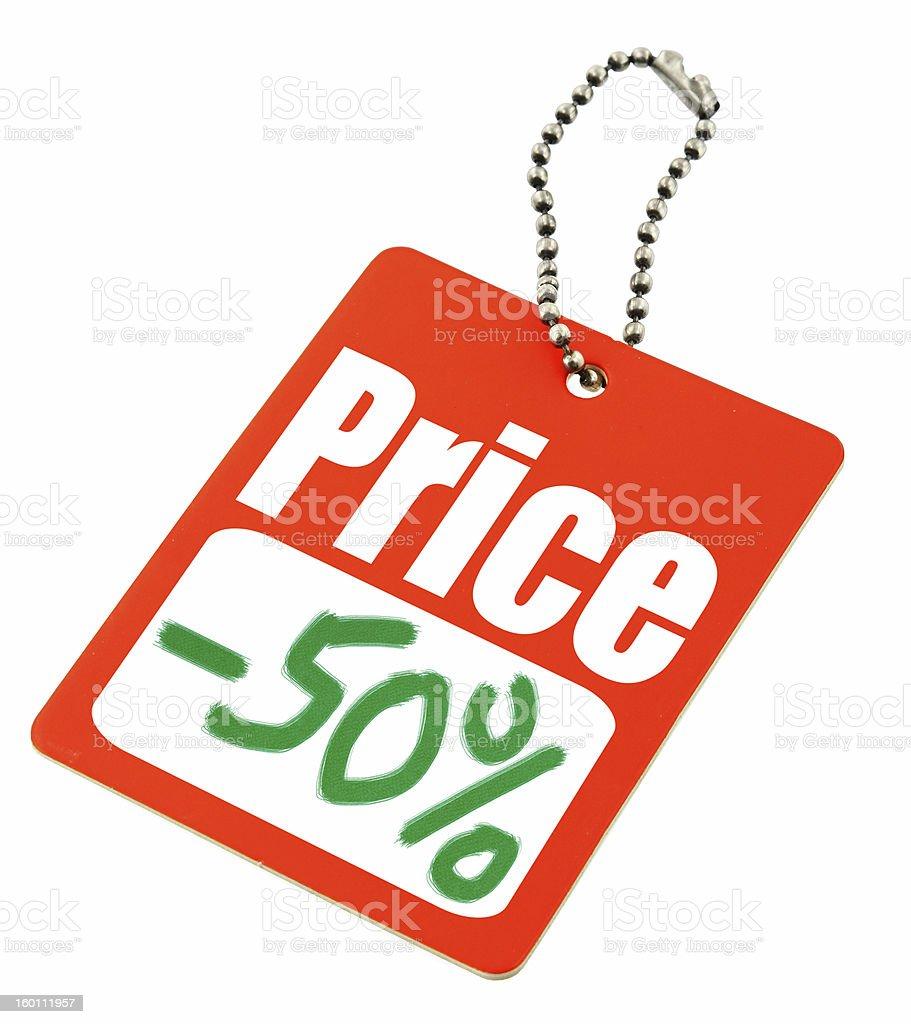 Half price tag stock photo