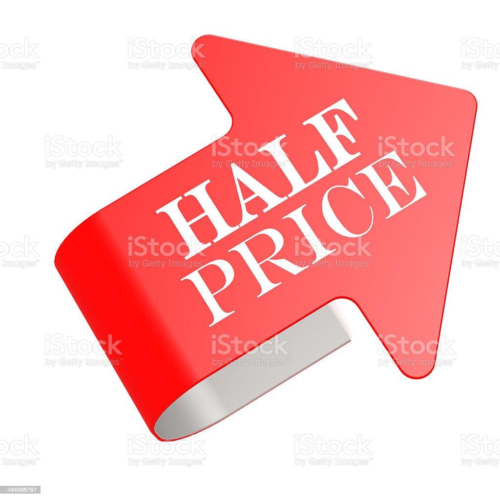 Half price twist label stock photo