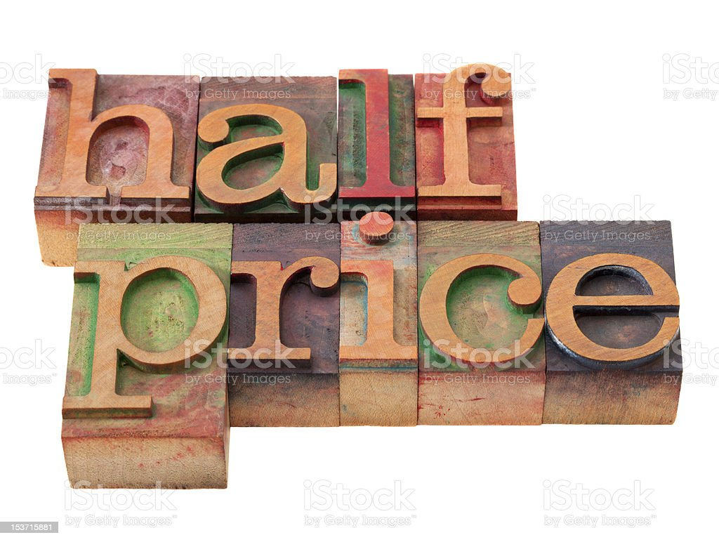 half price - words in letterpress type royalty-free stock photo
