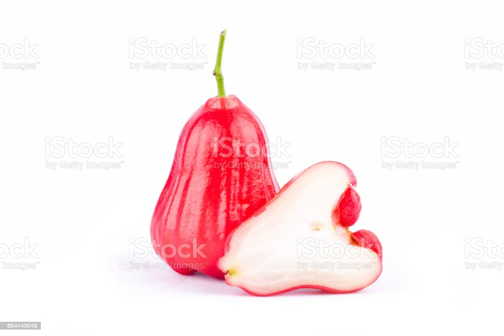 half  rose apple and   water apples  on white background healthy rose apple fruit food isolated stock photo