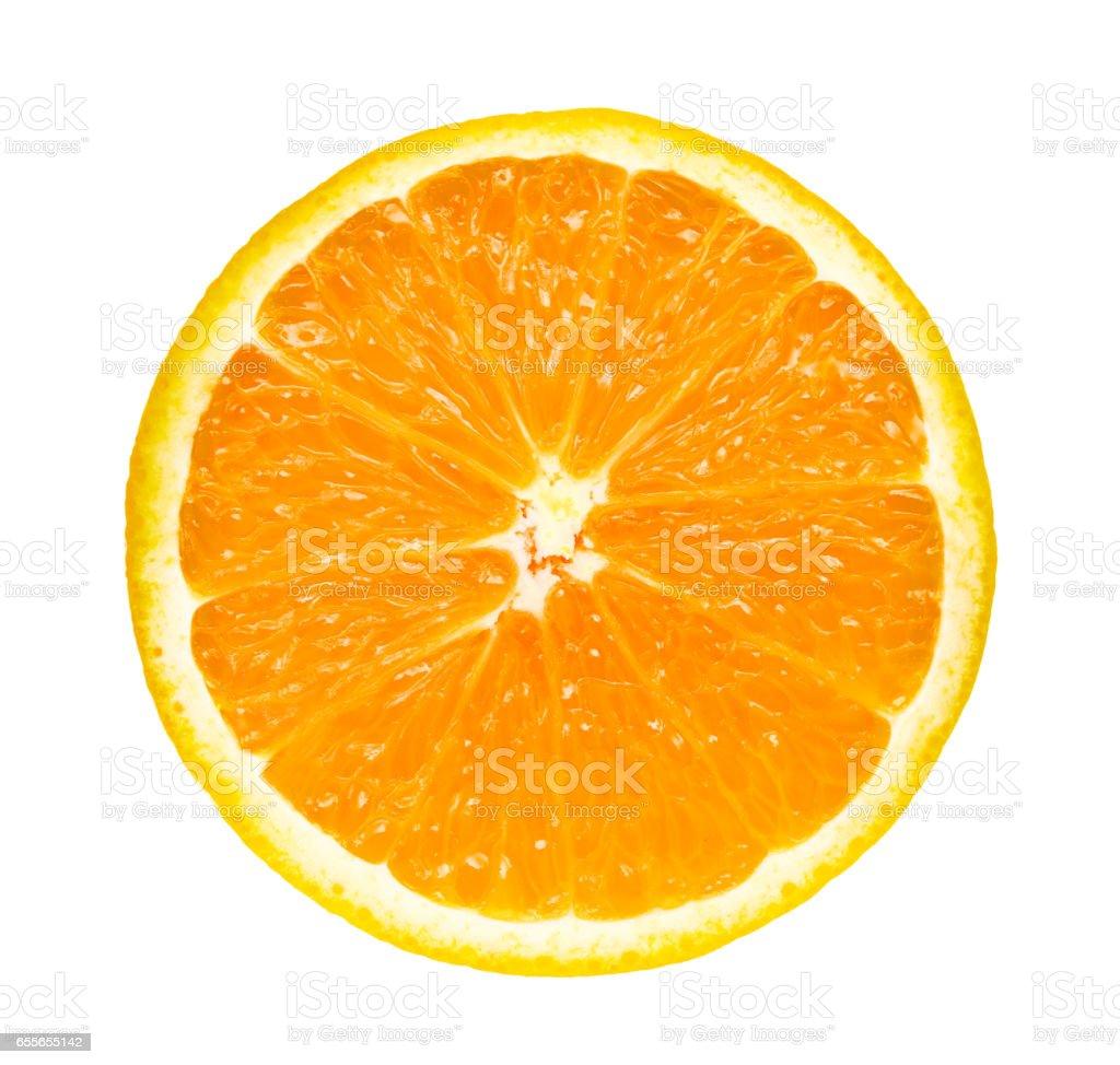 half slice fresh orange isolated on white background stock photo