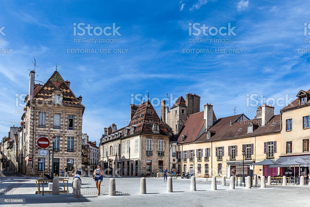 half timbered  houses at Place Cordeliers in Dijon, Burgundy stock photo