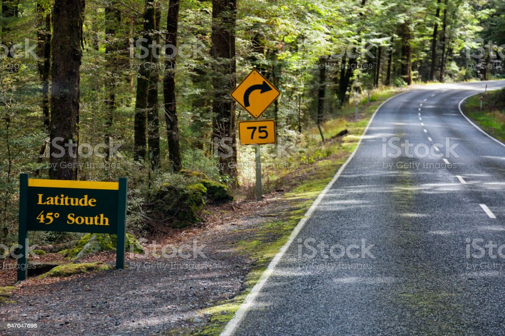 Half way point on Milford Road in Fiordland National Park, New Zealand stock photo
