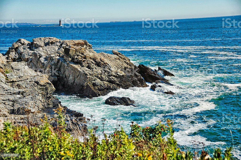 Half Way Rock Lighthouse Portland Maine stock photo