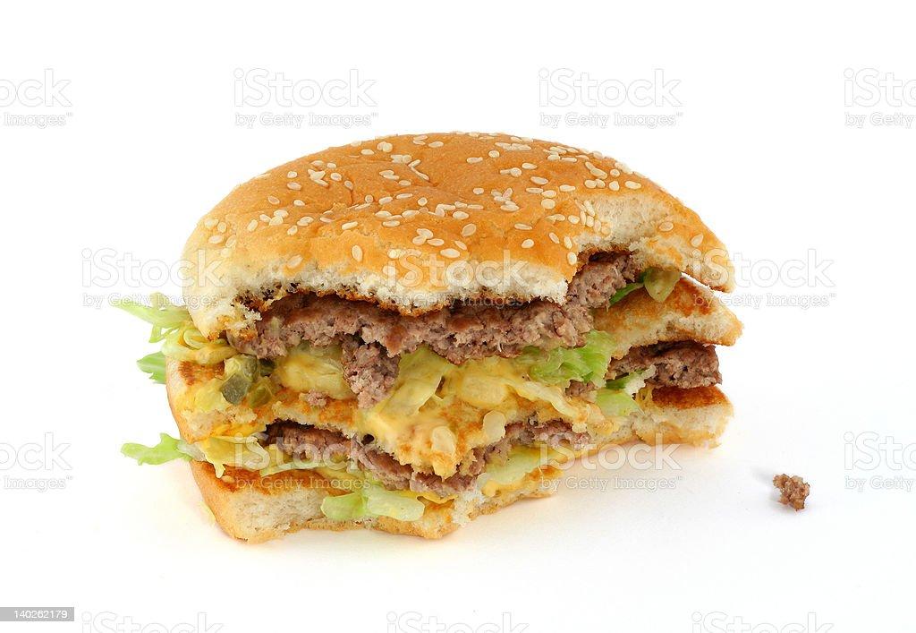 half-eaten delicious hamburger stock photo