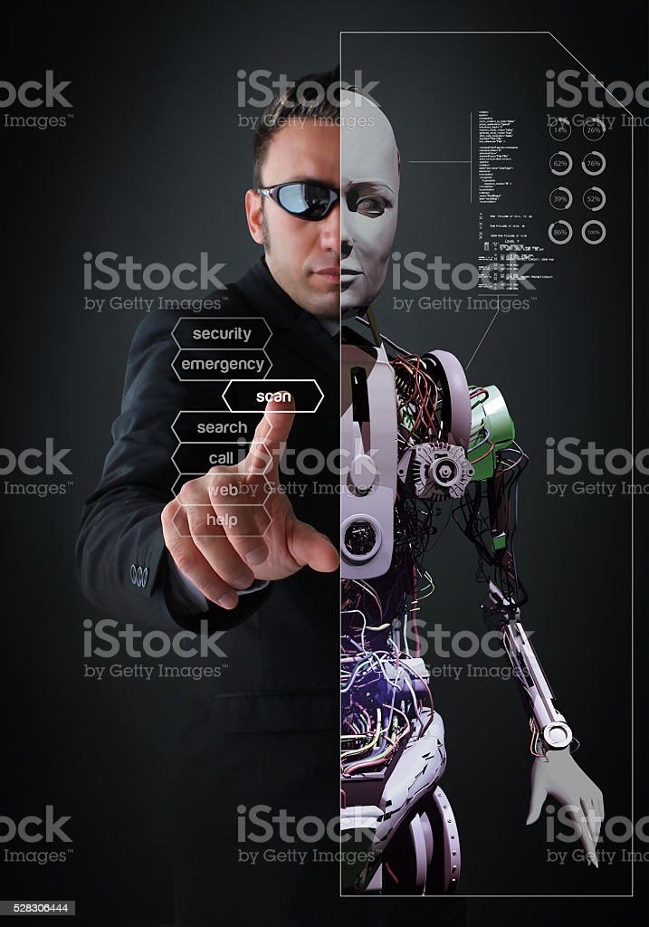 Half-Human, Half-Android stock photo