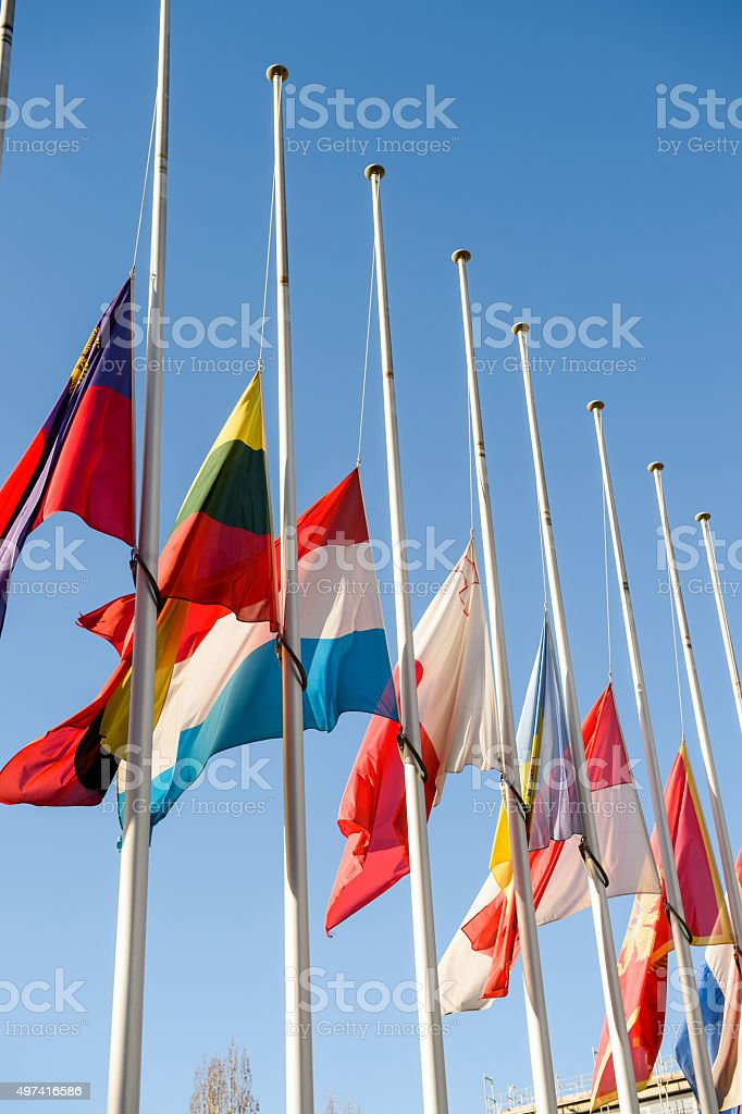 Half-mast flags of all the European Union countries after Paris stock photo