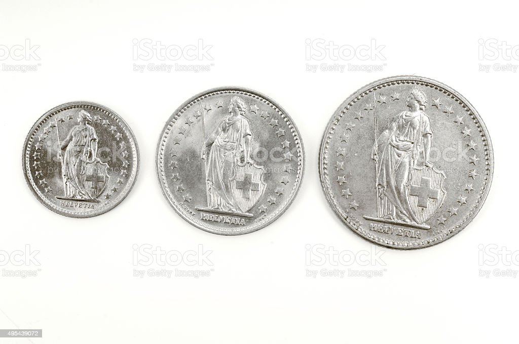 half,one and two, francs, Swiss coin stock photo