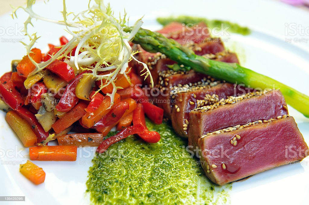 half-roasted tuna with stewed vegetables royalty-free stock photo