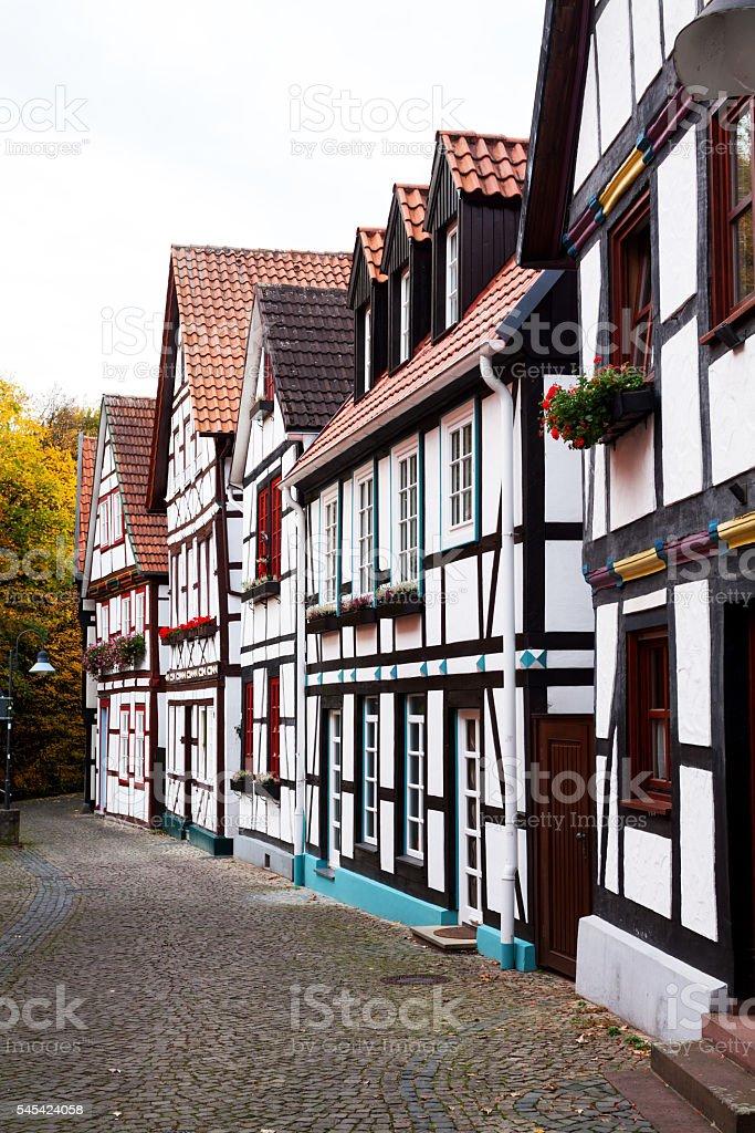 Half-timbered buildings in Paderborn stock photo