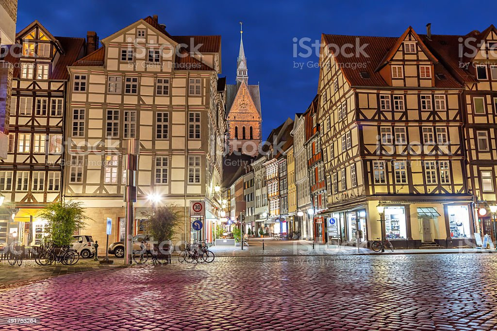 Half-timbered buildings of old town in Hannover stock photo