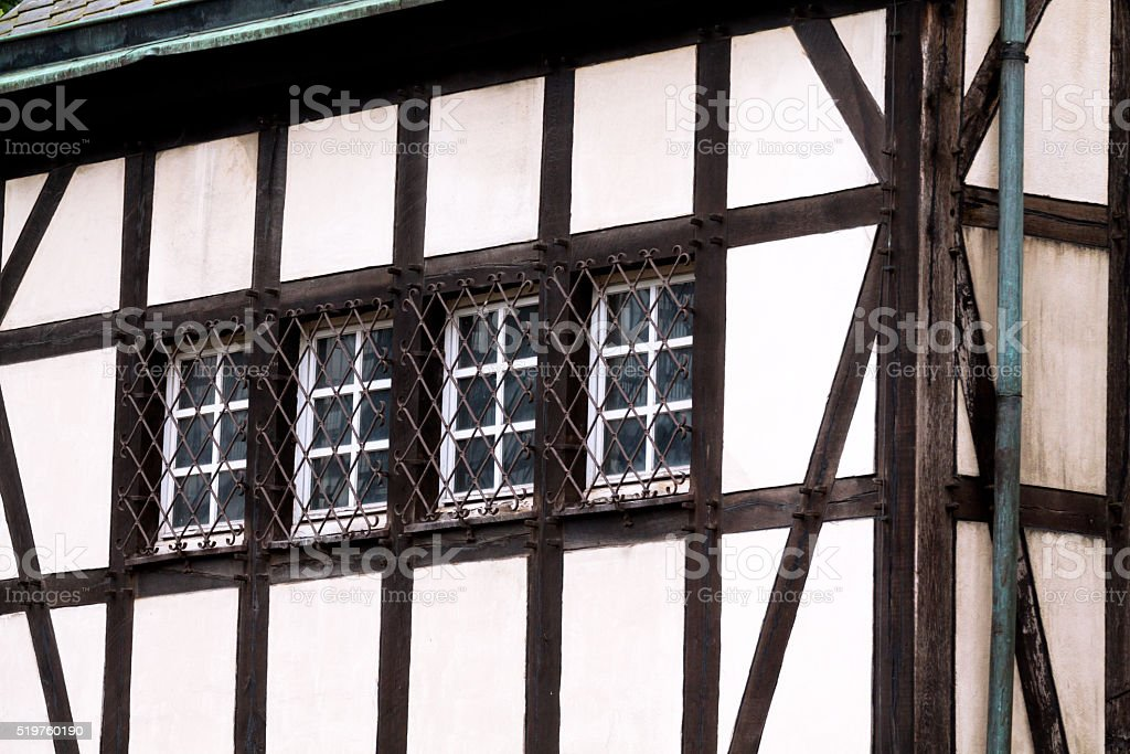 Half-timbered detail of curch Essener Münster stock photo
