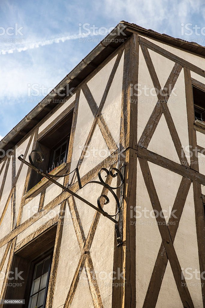 Half-timbered French medieval house stock photo