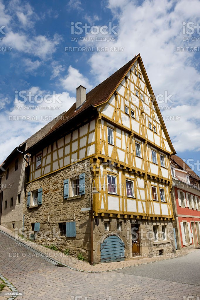Half-timbered from 15th century in Eppingen Germany stock photo