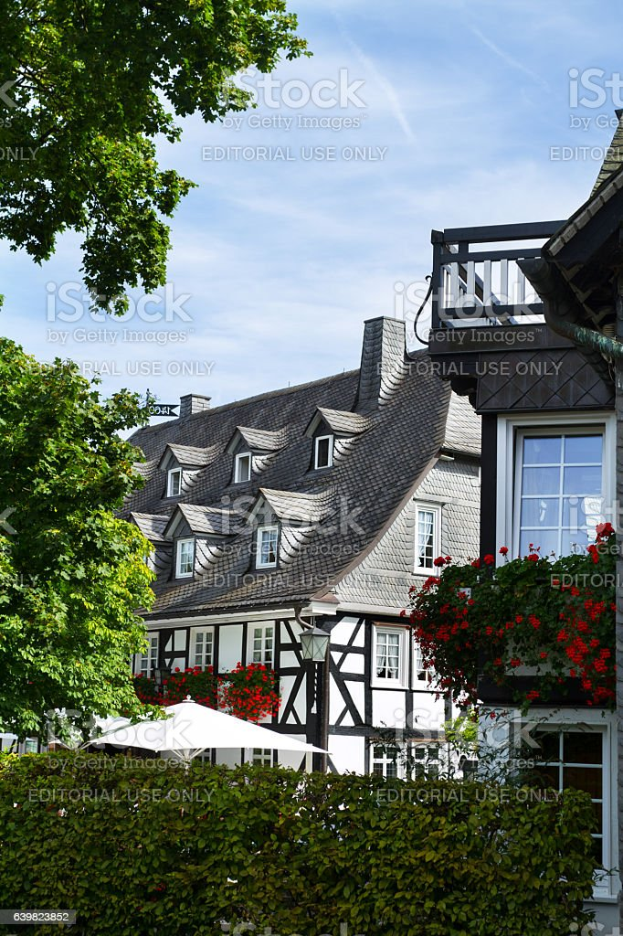 Half-timbered hotel and restaurant in Oberkirchen stock photo