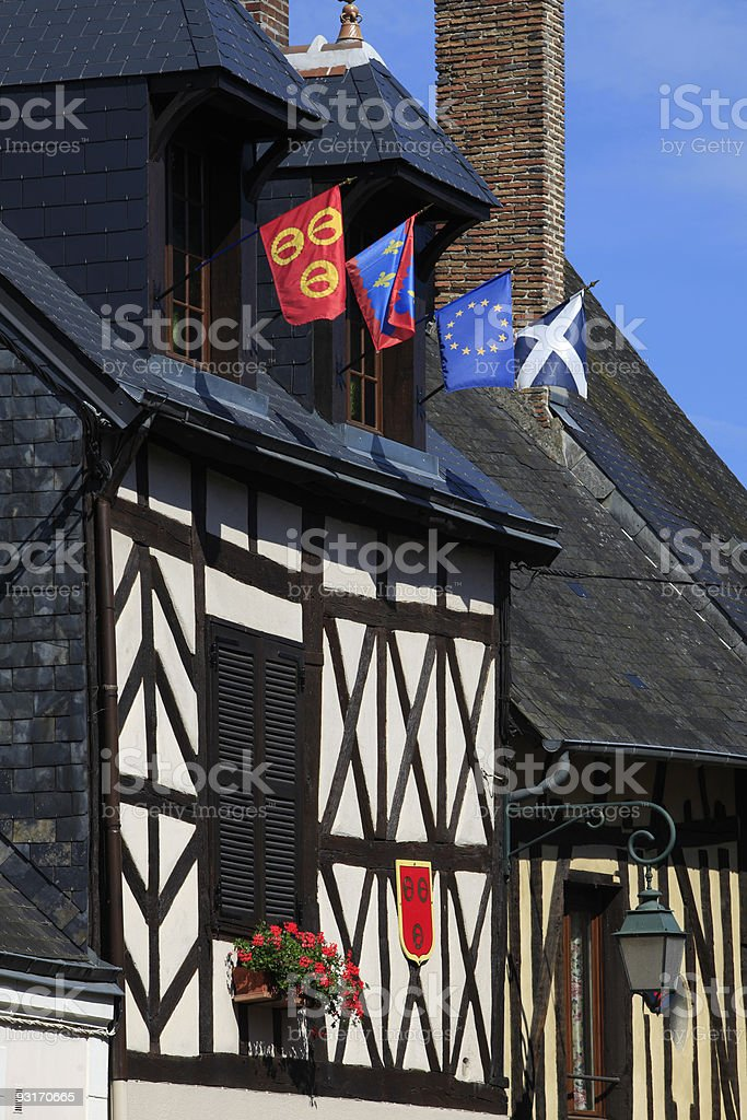 half-timbered house at Aubigny-sur-N?re royalty-free stock photo