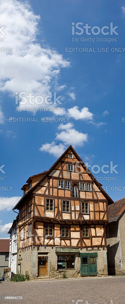 Half-timbered house from 15th century in Eppingen Germany stock photo