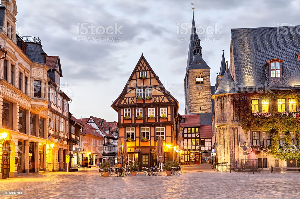 Half-timbered house on Market Square of Quedlinburg stock photo