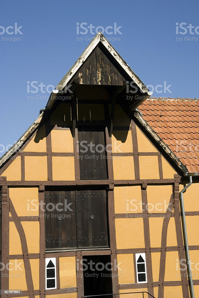 half-timbered house with colored paint stock photo