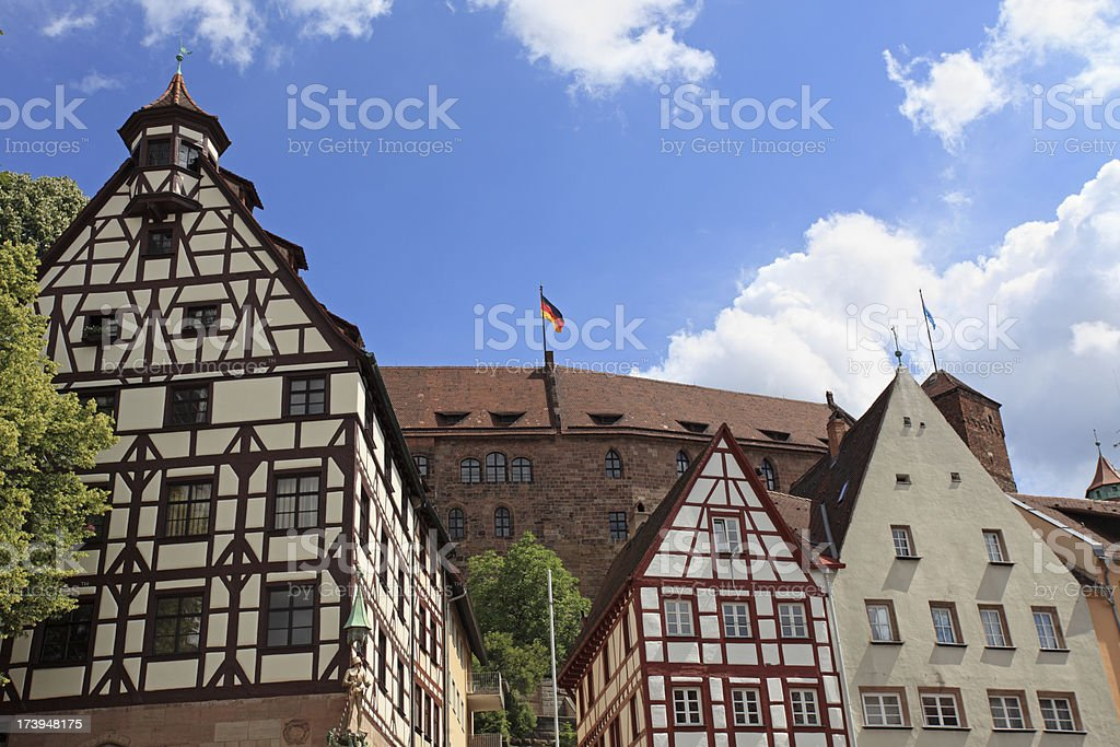 Half-timbered houses and Nuremberg Castle, Germany royalty-free stock photo