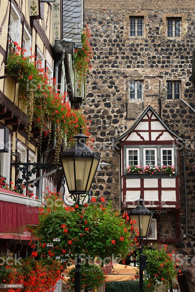 half-timbered houses and old wall stock photo